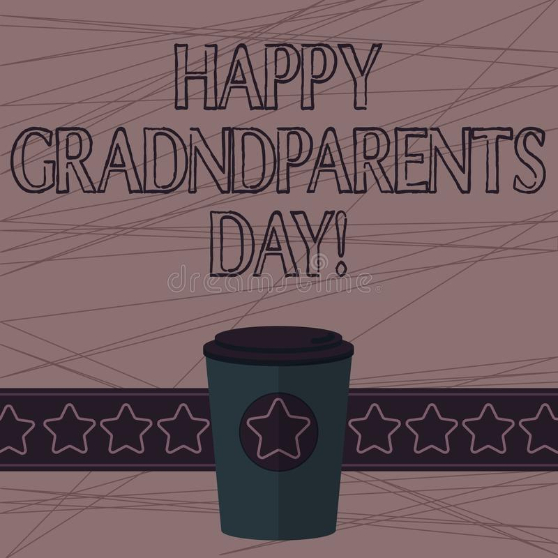 Text sign showing Happy Grandparents Day. Conceptual photo National holiday to celebrate and honor grandparents 3D vector illustration