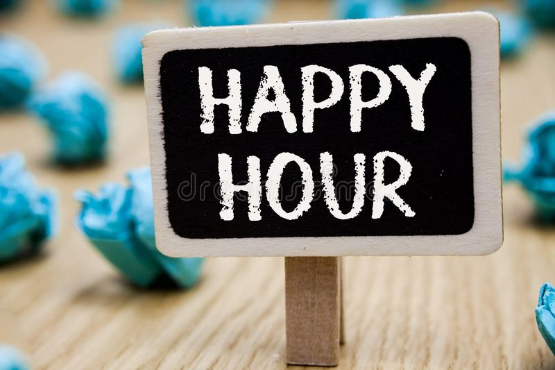 Text sign showing Happy Hour. Conceptual photo Spending time for activities that makes you relax for a while Blackboard crumpled p. Apers several tries mistake stock illustration