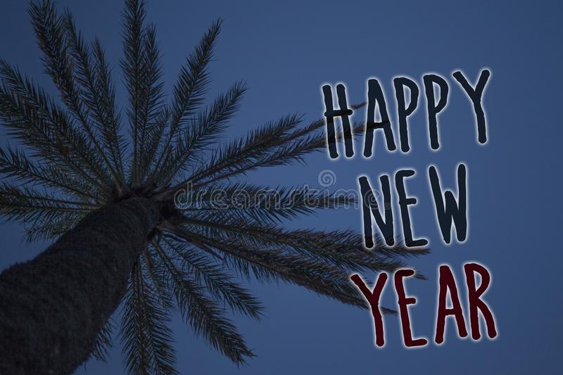 Text sign showing Happy New Year. Conceptual photo congratulations Merry Xmas everyone beginning of January Tree palm sky blue nat. Ural scene landscape love royalty free stock images