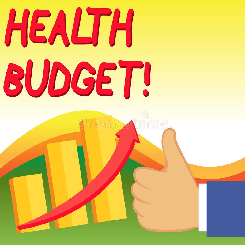 Text sign showing Health Budget. Conceptual photo amount of money to support your health and wellbeing needs Thumb Up. Text sign showing Health Budget. Business royalty free illustration