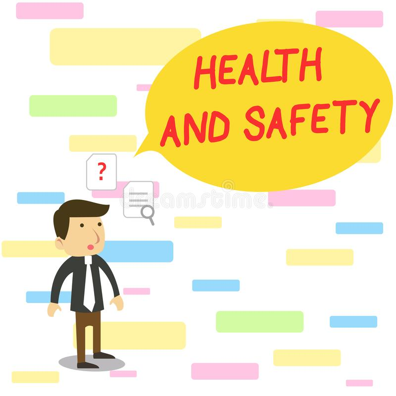 Text sign showing Health And Safety. Conceptual photo procedures intended to prevent accident in workplace Young Male. Text sign showing Health And Safety royalty free illustration