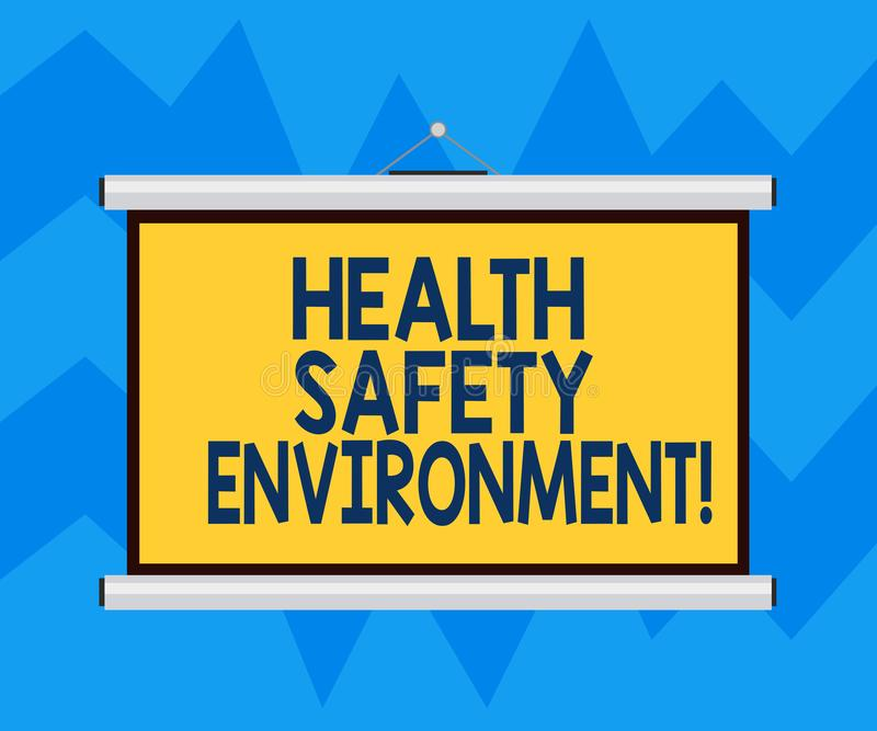 Text sign showing Health Safety Environment. Conceptual photo Environmental protection and safety at work Blank Portable Wall. Hanged Projection Screen for vector illustration