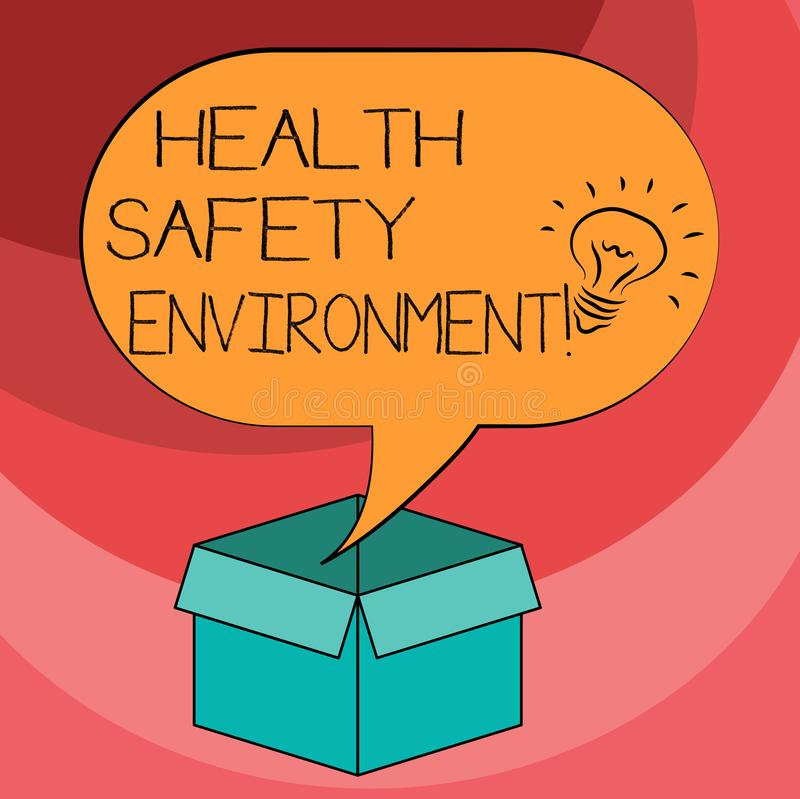 Text sign showing Health Safety Environment. Conceptual photo Environmental protection and safety at work Idea icon Inside Blank. Halftone Speech Bubble Over an vector illustration