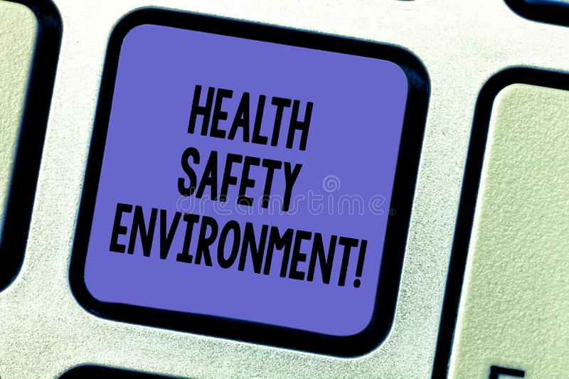 Text sign showing Health Safety Environment. Conceptual photo Environmental protection and safety at work Keyboard key Intention. To create computer message stock illustration