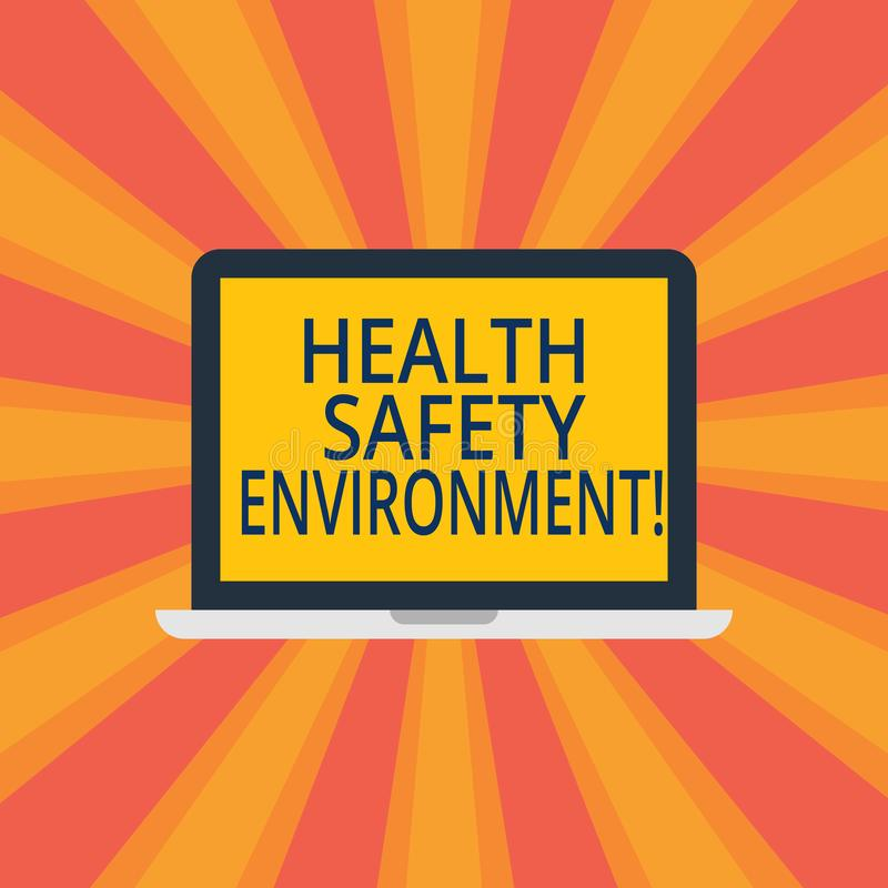 Text sign showing Health Safety Environment. Conceptual photo Environmental protection and safety at work Laptop Monitor Personal. Computer Device Tablet Blank stock images