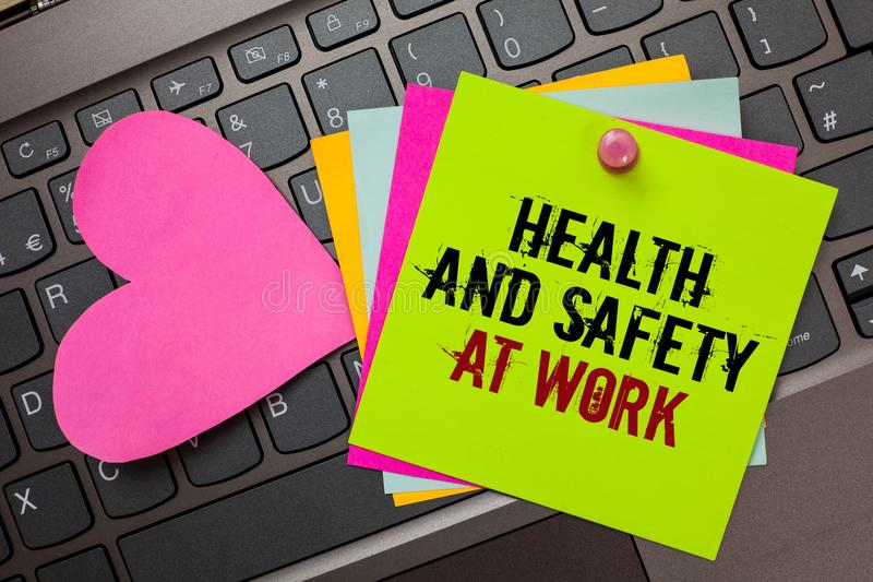 Text sign showing Health And Safety At Work. Conceptual photo Secure procedures prevent accidents avoid danger Bright colorful wri. Tten papers pinch by pin pink royalty free stock photo