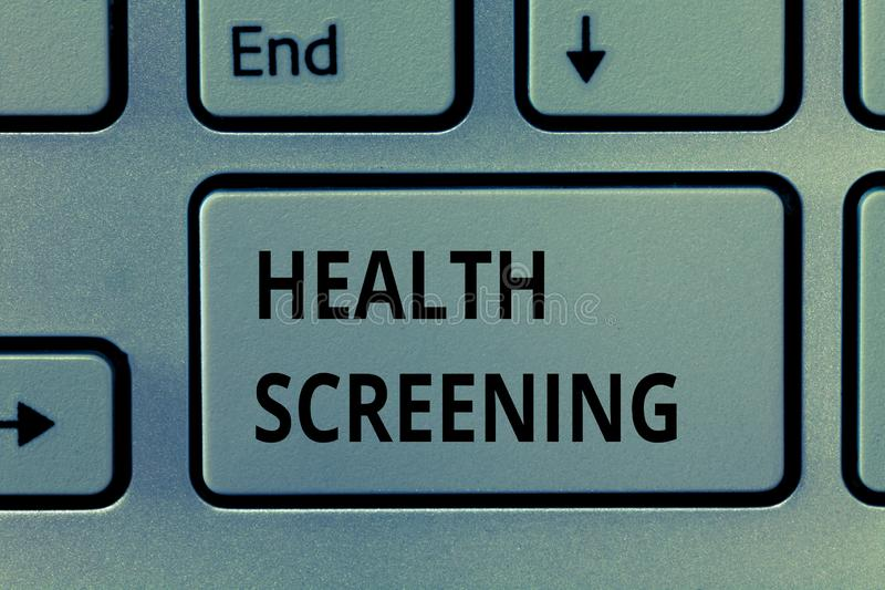 Text sign showing Health Screening. Conceptual photo targeted systematic action designed to identify diseases.  royalty free stock photo