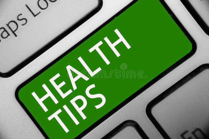 Text sign showing Health Tips. Conceptual photo state of complete physical mental and social well being Keyboard green key Intenti. On create computer computing stock illustration