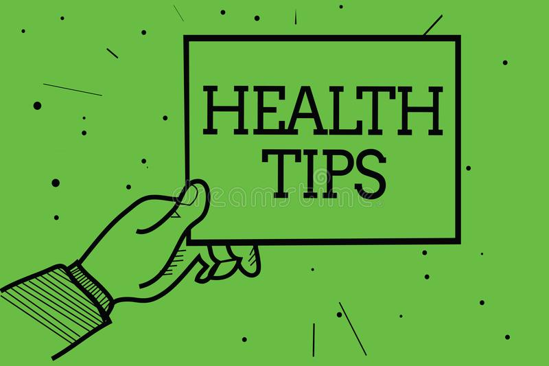 Text sign showing Health Tips. Conceptual photo state of complete physical mental and social well being Man hand holding paper com. Municating information dotted vector illustration
