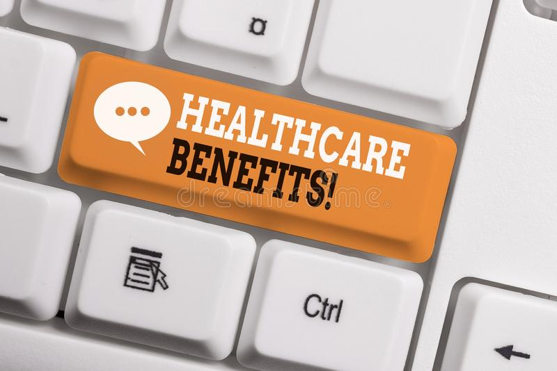Text sign showing Healthcare Benefits. Conceptual photo monthly fair market valueprovided to Employee dependents White pc keyboard. Text sign showing Healthcare royalty free stock photography