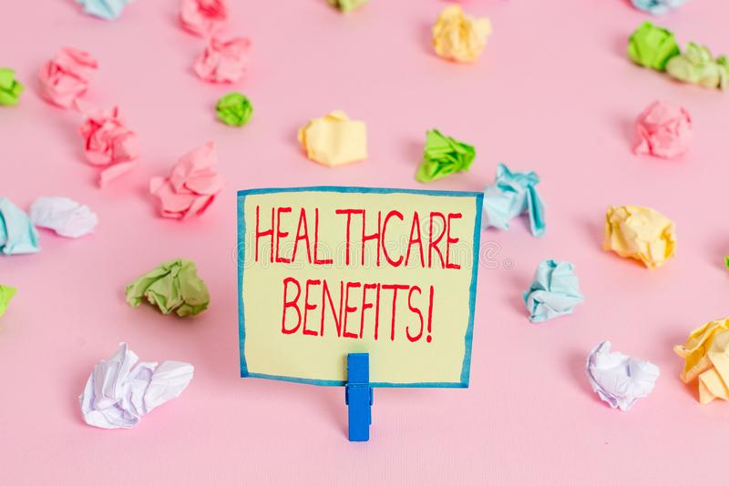 Text sign showing Healthcare Benefits. Conceptual photo monthly fair market valueprovided to Employee dependents Colored crumpled. Text sign showing Healthcare royalty free stock image