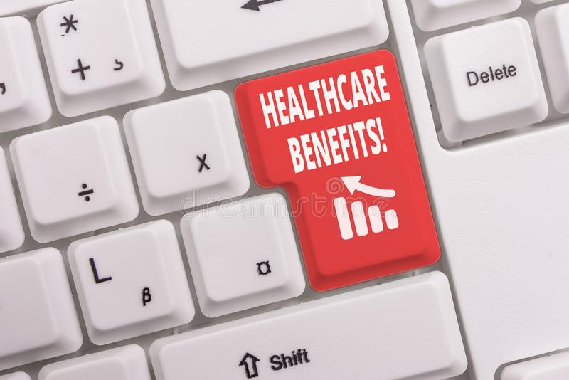 Text sign showing Healthcare Benefits. Conceptual photo monthly fair market valueprovided to Employee dependents White pc keyboard. Text sign showing Healthcare royalty free stock image