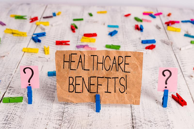 Text sign showing Healthcare Benefits. Conceptual photo monthly fair market valueprovided to Employee dependents. Text sign showing Healthcare Benefits. Business stock image