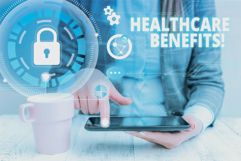 Text sign showing Healthcare Benefits. Conceptual photo monthly fair market valueprovided to Employee dependents woman. Text sign showing Healthcare Benefits royalty free stock image