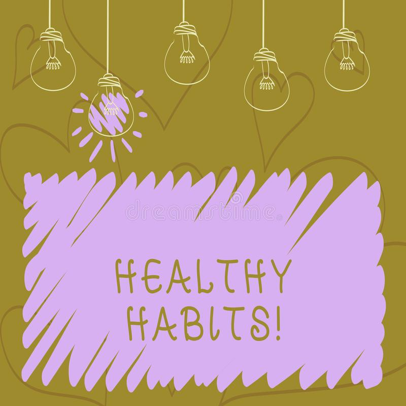 Text sign showing Healthy Habits. Conceptual photo Good nutrition diet take care of oneself Weight Control. Text sign showing Healthy Habits. Business photo stock illustration