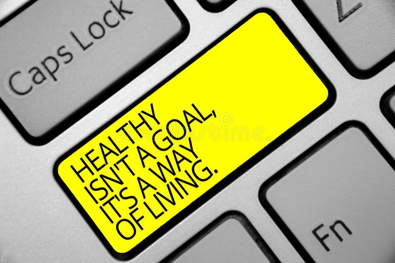 Text sign showing Healthy Isn t not A Goal, It s is A Way Of Living.. Conceptual photo Create good habits routines Keyboard yellow. Key Intention create royalty free stock photography