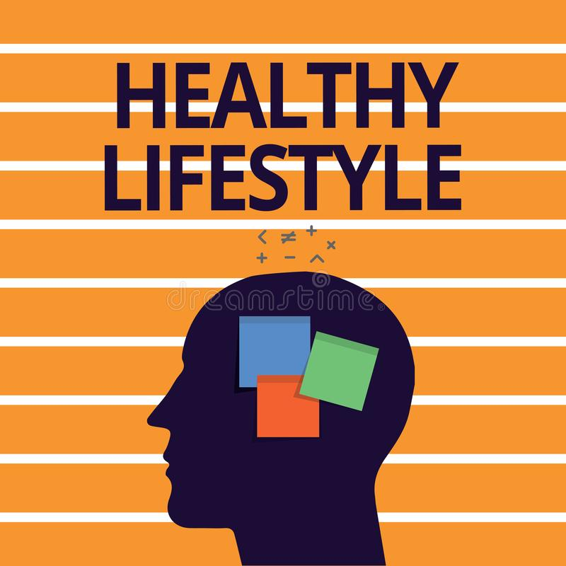 Text sign showing Healthy Lifestyle. Conceptual photo Live Healthy Engage in physical activity and exercise.  royalty free illustration