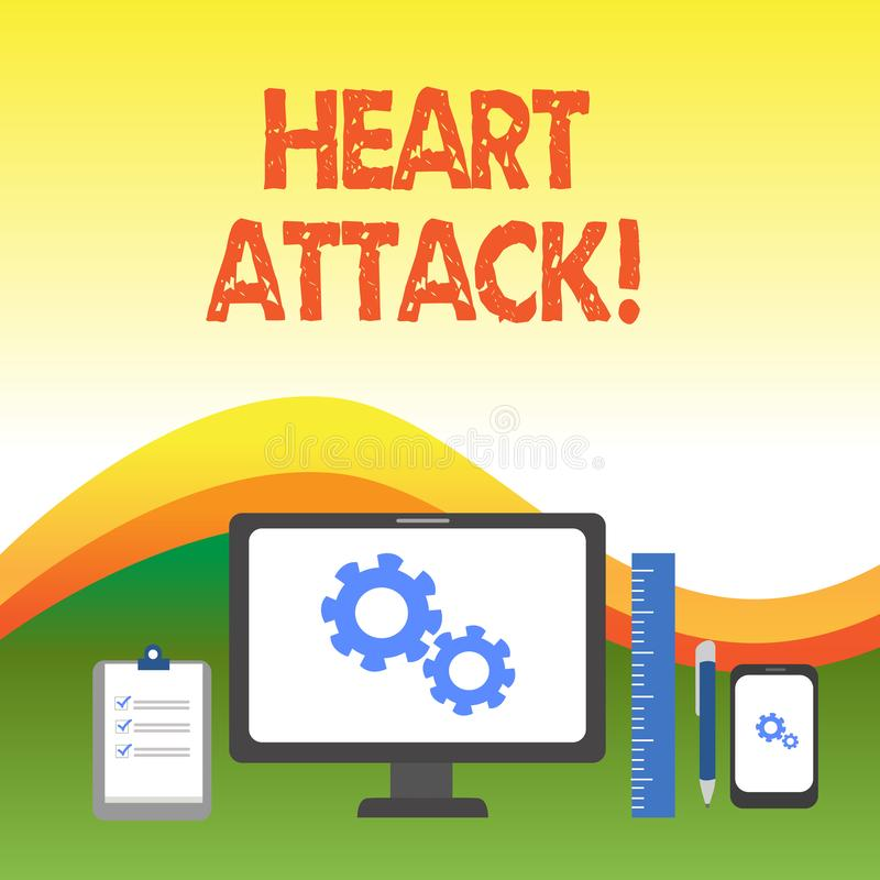 Text sign showing Heart Attack. Conceptual photo sudden occurrence of coronary thrombosis resulting in death Business. Text sign showing Heart Attack. Business royalty free illustration