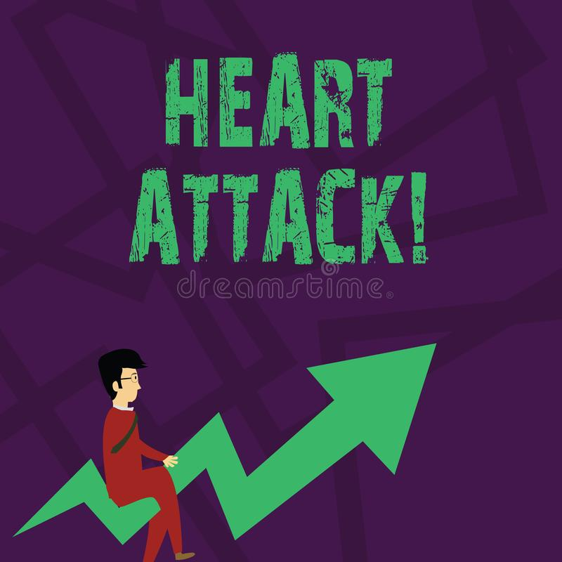 Text sign showing Heart Attack. Conceptual photo sudden occurrence of coronary thrombosis resulting in death Businessman. Text sign showing Heart Attack stock illustration