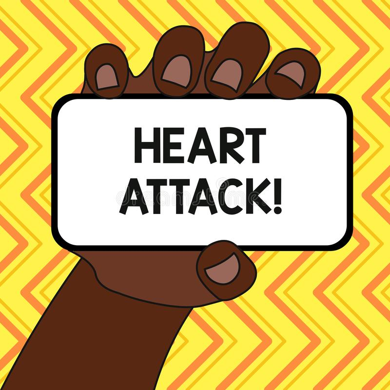 Text sign showing Heart Attack. Conceptual photo sudden occurrence of coronary thrombosis resulting in death Closeup of. Text sign showing Heart Attack. Business vector illustration