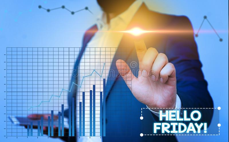 Text sign showing Hello Friday. Conceptual photo you say this for wishing and hoping another good lovely week. Text sign showing Hello Friday. Business photo royalty free stock images