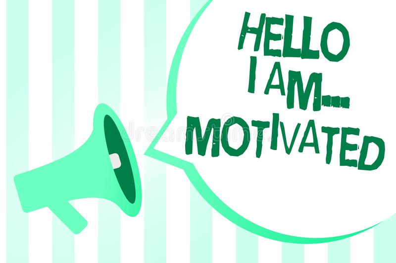 Text sign showing Hello I Am... Motivated. Conceptual photo haivng inner sound to do more in work or life Megaphone loudspeaker gr. Een stripes important loud royalty free illustration