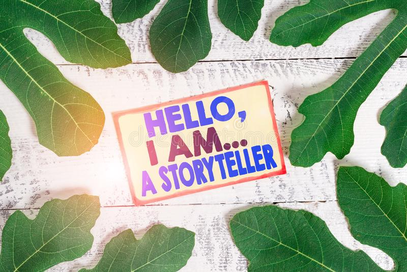 Text sign showing Hello I Am A Storyteller. Conceptual photo introducing yourself as novels article writer. Text sign showing Hello I Am A Storyteller. Business royalty free stock photography
