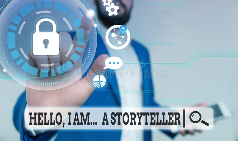 Text sign showing Hello I Am A Storyteller. Conceptual photo introducing yourself as novels article writer Male human. Text sign showing Hello I Am A Storyteller royalty free stock images