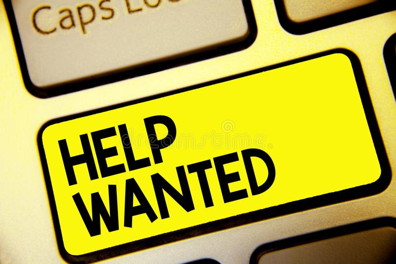 Text sign showing Help Wanted. Conceptual photo advertisement placed in newspaper by employers seek employees Keyboard yellow key. Intention create computer royalty free stock photos