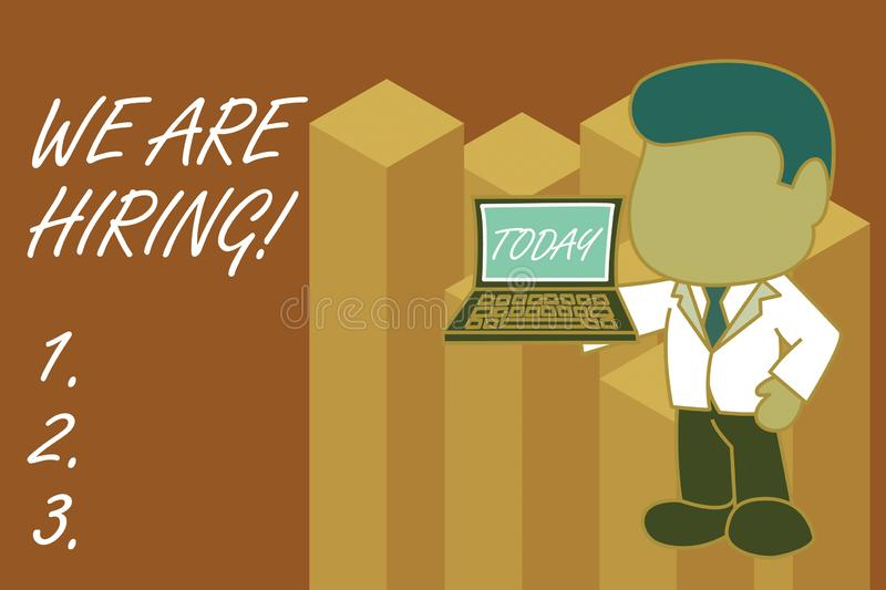 Text sign showing We Are Hiring. Conceptual photo recently you employ someone or pay someone to do particular job. Text sign showing We Are Hiring. Business stock illustration