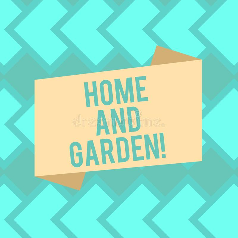 Text sign showing Home And Garden. Conceptual photo Gardening and house activities hobbies agriculture Blank Color. Folded Banner Strip Flat Style photo for royalty free illustration