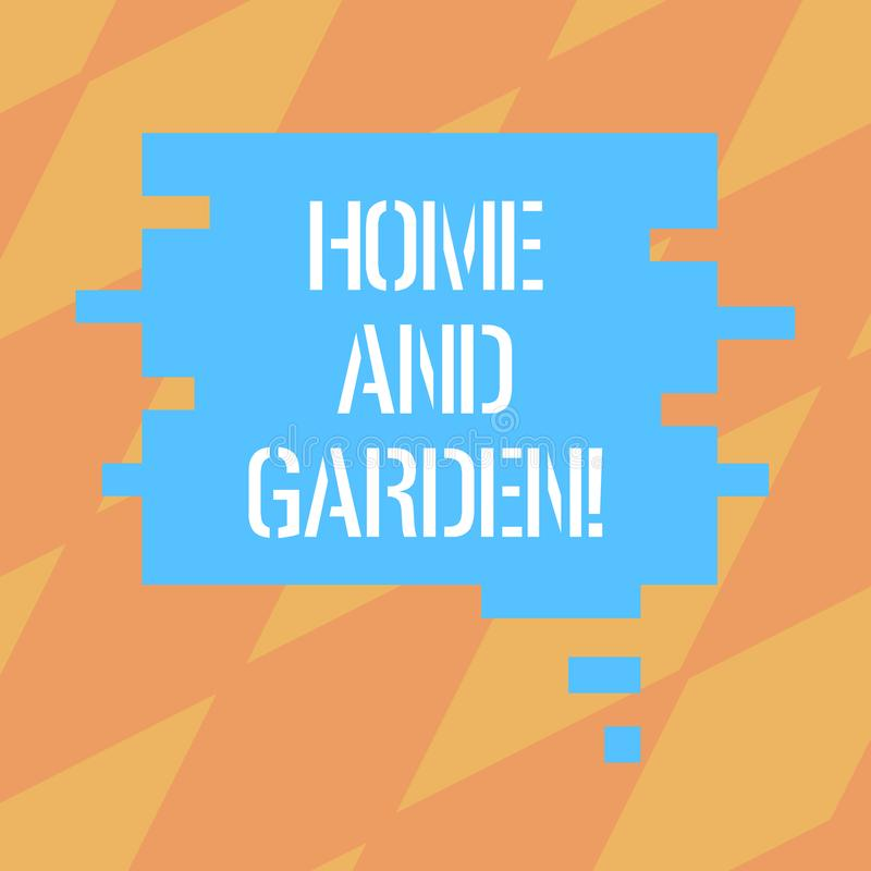 Text sign showing Home And Garden. Conceptual photo Gardening and house activities hobbies agriculture Blank Color. Speech Bubble in Puzzle Piece Shape photo royalty free illustration