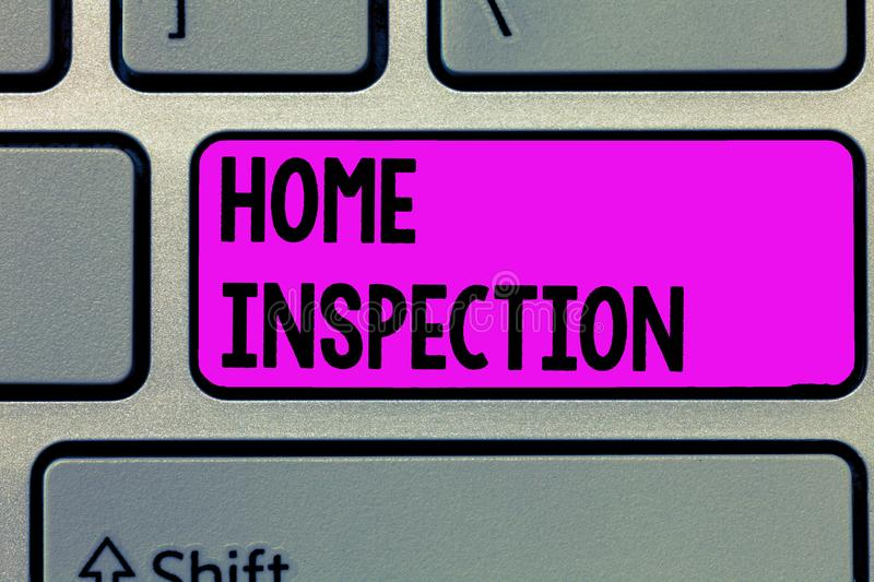 Text sign showing Home Inspection. Conceptual photo Examination of the condition of a home related property.  royalty free stock photos