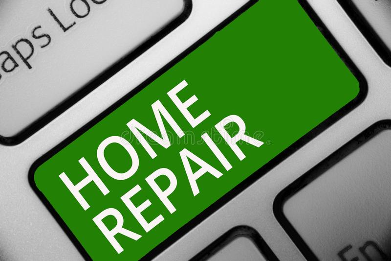 Text sign showing Home Repair. Conceptual photo maintenance or improving your own house by yourself using tools Keyboard green key. Intention create computer stock illustration