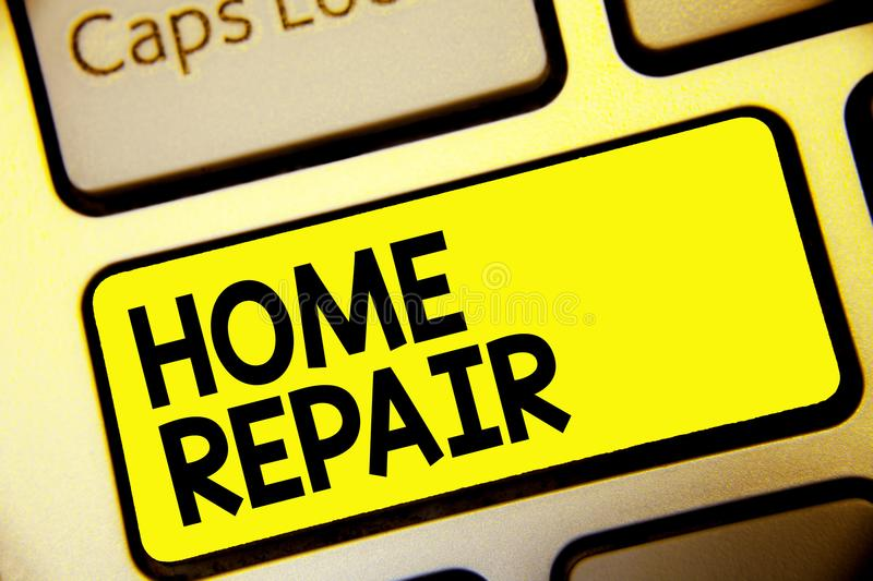 Text sign showing Home Repair. Conceptual photo maintenance or improving your own house by yourself using tools Keyboard yellow ke. Y Intention create computer stock illustration
