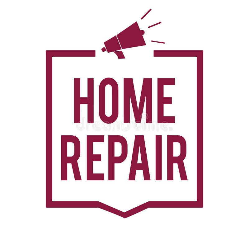 Text sign showing Home Repair. Conceptual photo maintenance or improving your own house by yourself using tools Megaphone loudspea. Ker purple frame vector illustration