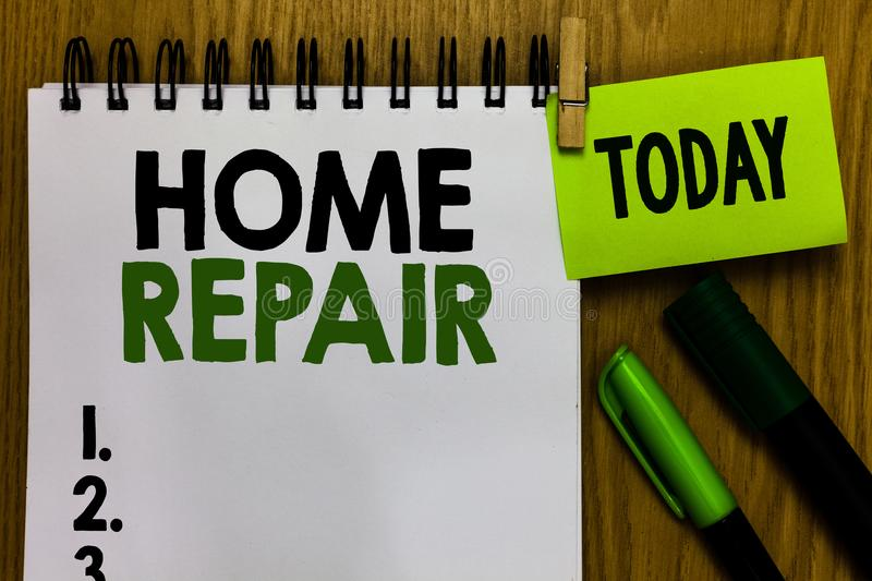 Text sign showing Home Repair. Conceptual photo maintenance or improving your own house by yourself using tools Notebook clothespi. N holding reminder markers vector illustration