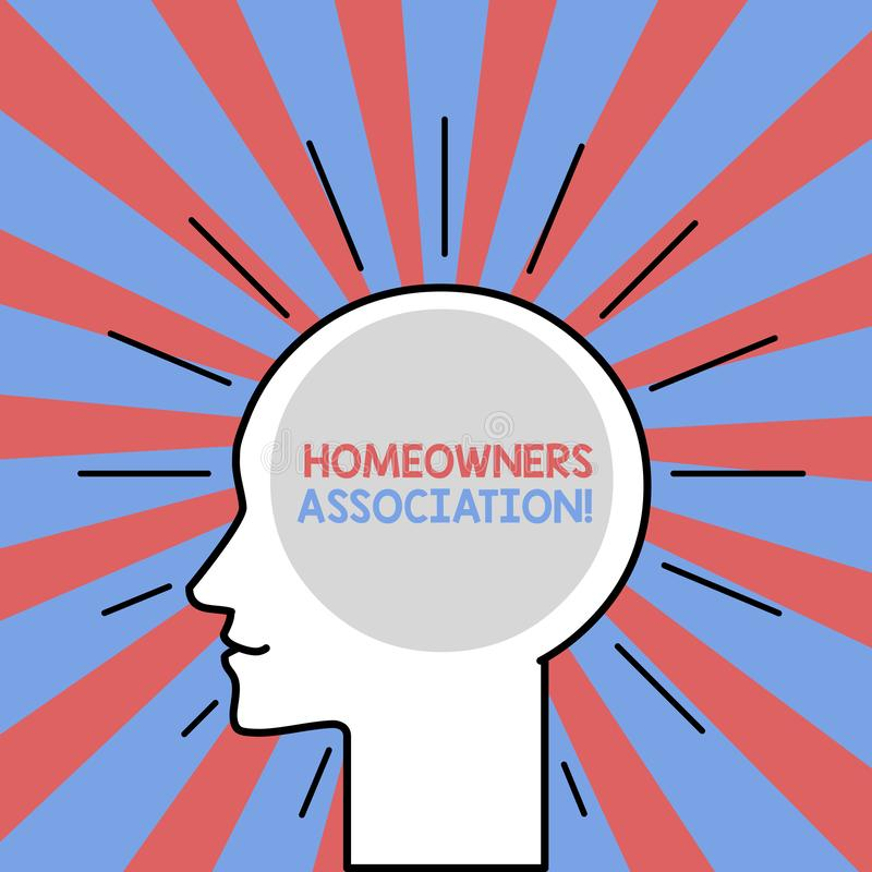 Text sign showing Homeowners Association. Conceptual photo Organization with fee for upkeeps of Gated Community Outline. Text sign showing Homeowners Association vector illustration