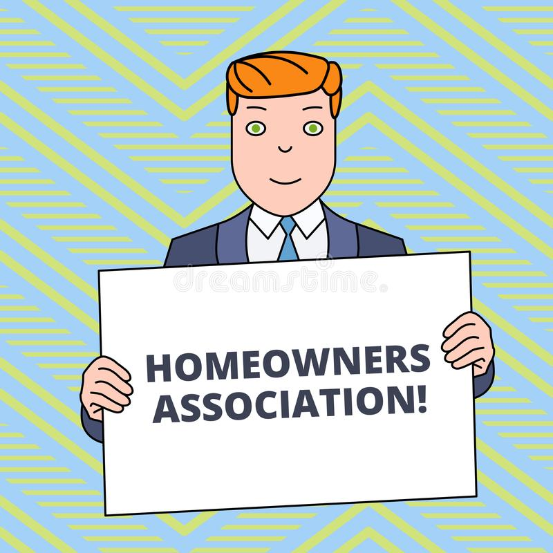 Text sign showing Homeowners Association. Conceptual photo Organization with fee for upkeeps of Gated Community Smiling. Text sign showing Homeowners Association stock illustration