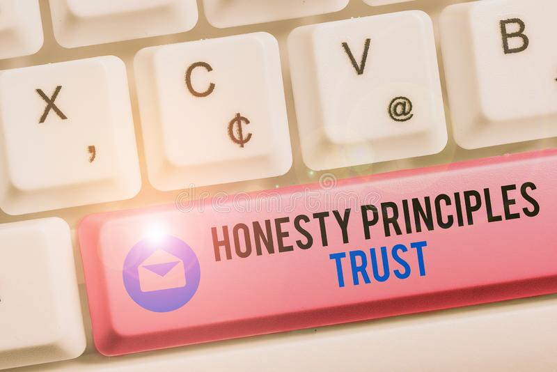 Text sign showing Honesty Principles Trust. Conceptual photo believing someone words for granted Telling truth White pc. Text sign showing Honesty Principles royalty free stock photos
