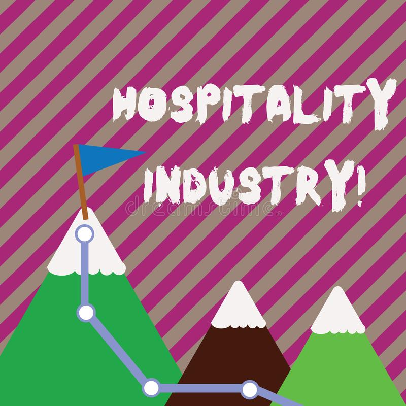 Text sign showing Hospitality Industry. Conceptual photo focus on the hotel and accommodation industry Three Mountains. Text sign showing Hospitality Industry vector illustration