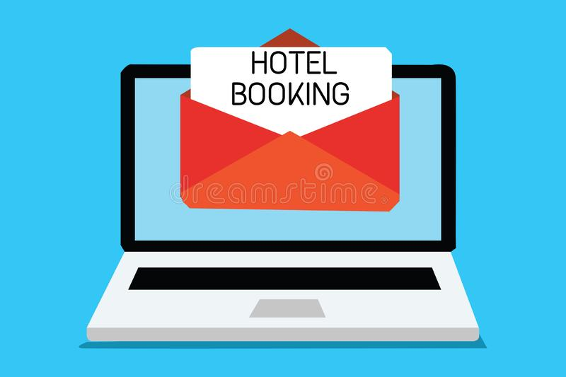 Text sign showing Hotel Booking. Conceptual photo Online Reservations Presidential Suite De Luxe Hospitality Computer. Receiving email important message royalty free illustration