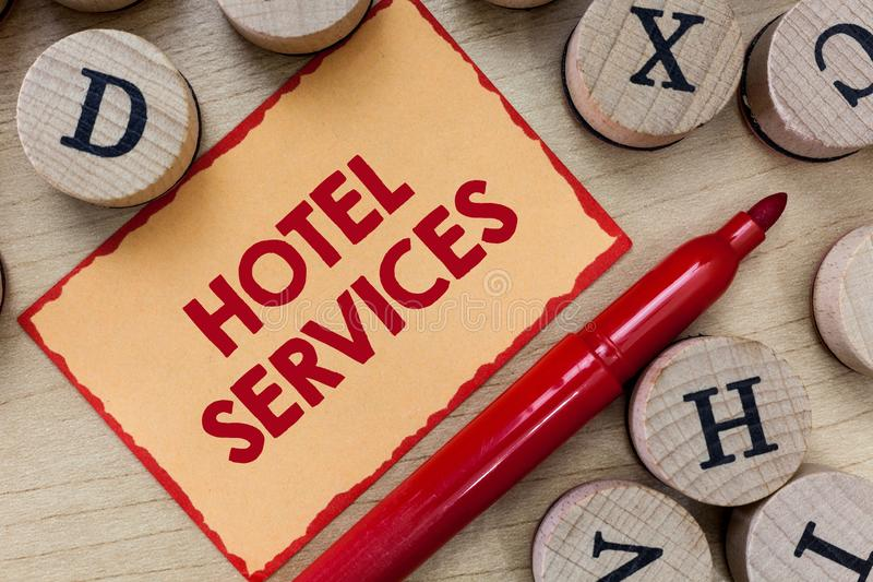 Text sign showing Hotel Services. Conceptual photo Facilities Amenities of an accommodation and lodging house.  royalty free stock photography