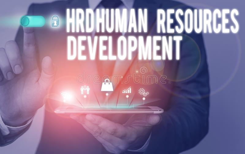 Text sign showing Hrd Huanalysis Resources Development. Conceptual photo helping employees develop demonstratingal. Text sign showing Hrd Huanalysis Resources royalty free stock image