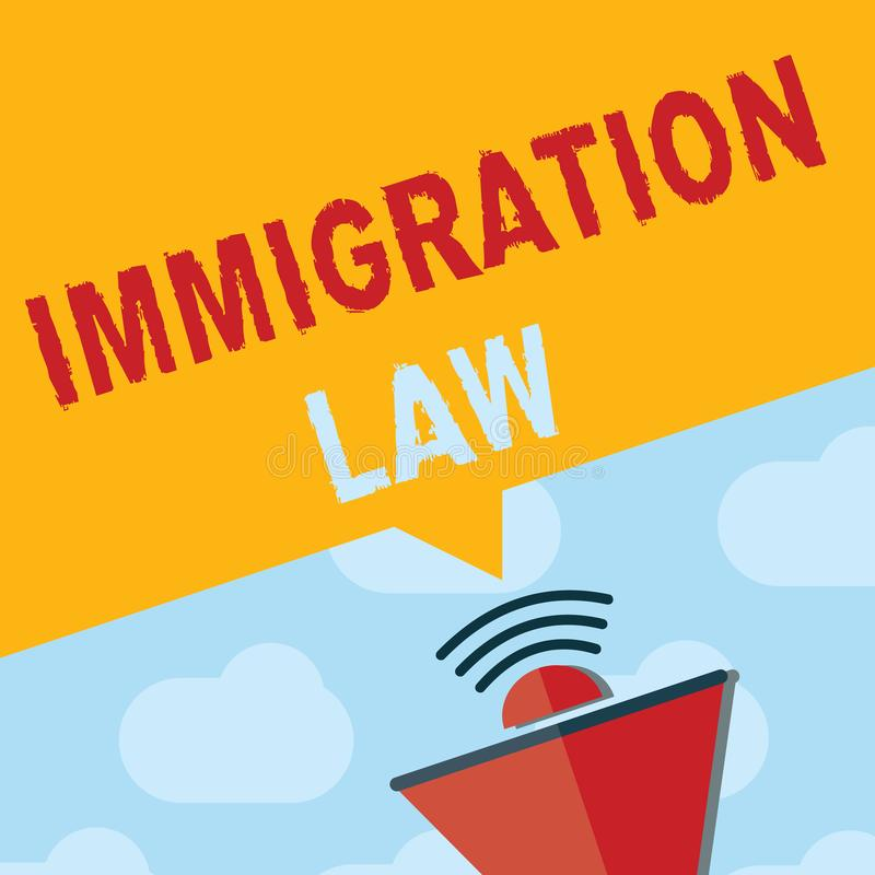 Text sign showing Immigration Law. Conceptual photo Emigration of a citizen shall be lawful in making of travel.  vector illustration
