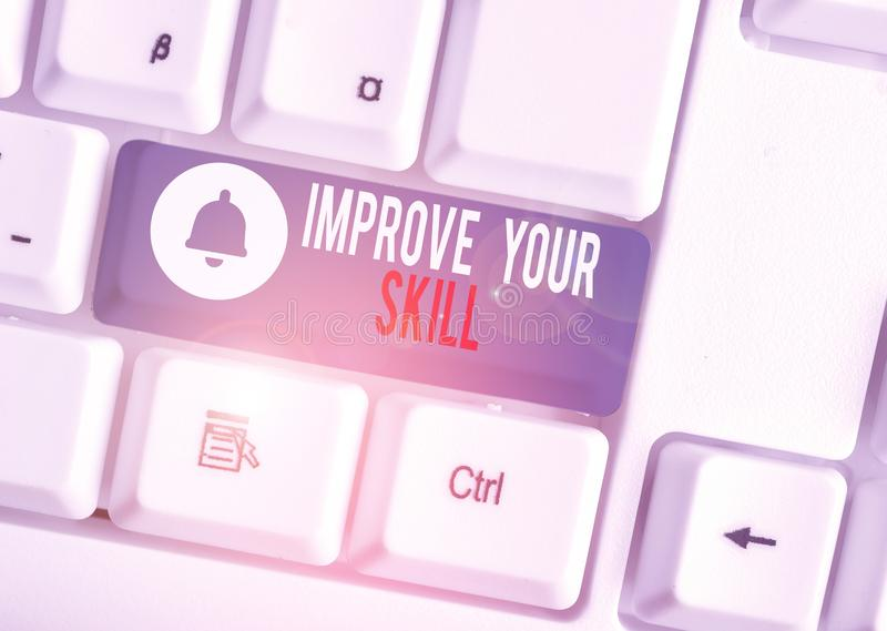 Text sign showing Improve Your Skill. Conceptual photo Unlock Potentials from Very Good to Excellent to Mastery White pc. Text sign showing Improve Your Skill stock photos