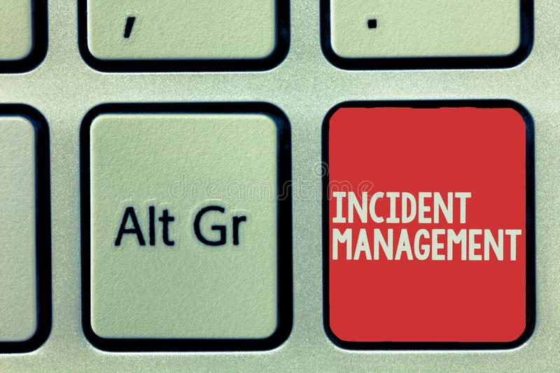Text sign showing Incident Management. Conceptual photo Process to return Service to Normal Correct Hazards royalty free stock photo