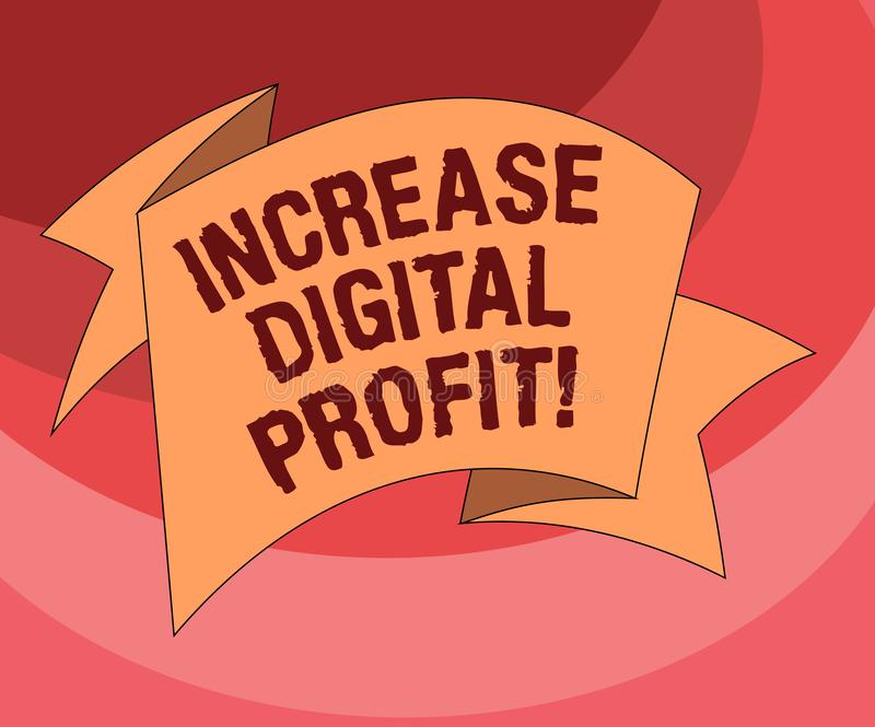 Text sign showing Increase Digital Profit. Conceptual photo improve rendered services through the internet Folded 3D Ribbon Strip. Solid Color Blank Sash photo vector illustration