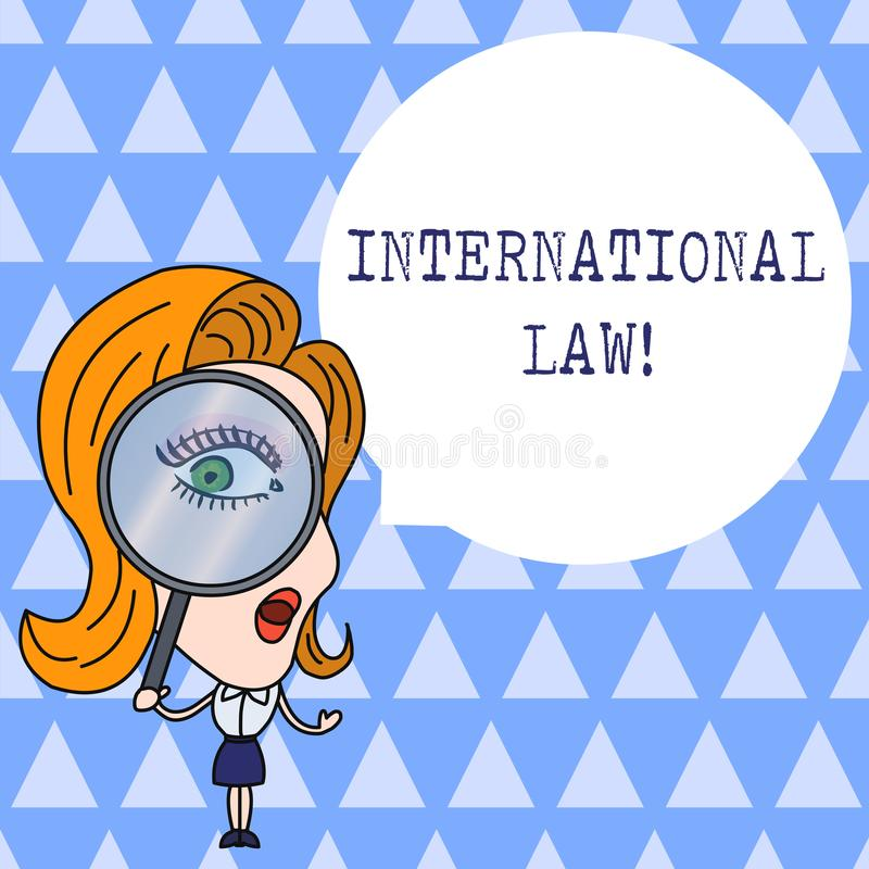Text sign showing International Law. Conceptual photo system of treaties and agreements between nations Woman Looking. Text sign showing International Law stock illustration