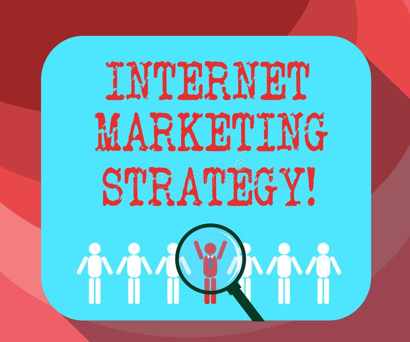 Text sign showing Internet Marketing Strategy. Conceptual photo Advertising products and services online Magnifying Glass Over. Chosen Man Figure Among the Hu royalty free stock photo